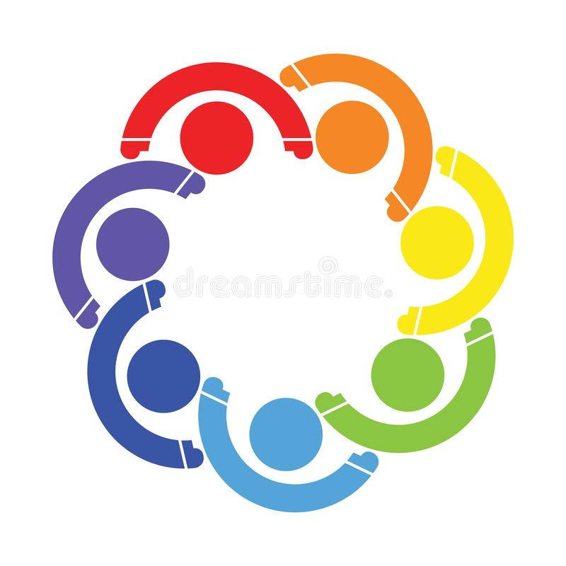 People logo.Group teamwork symbol of seven persons.holding hands royalty free illustration