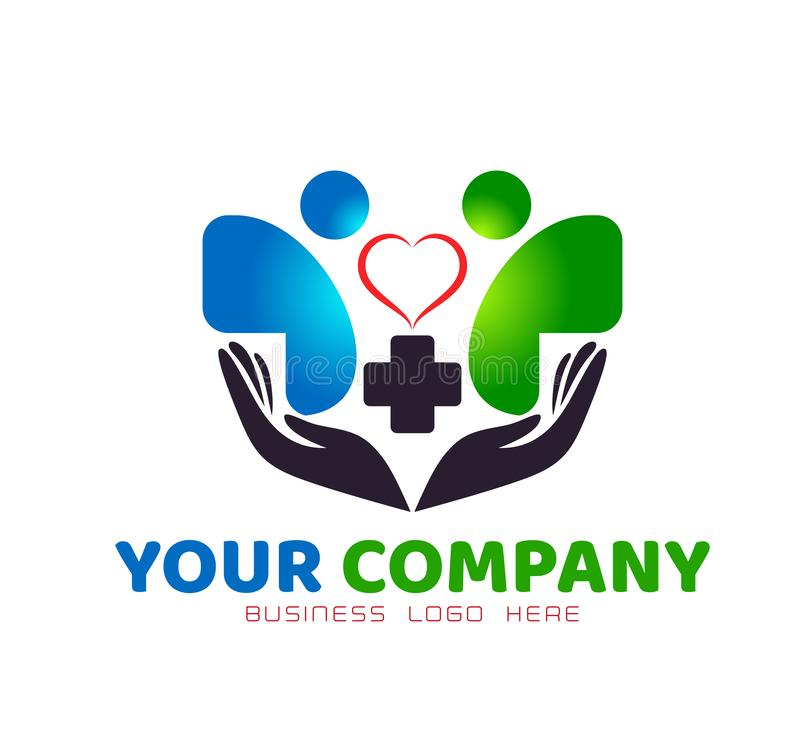 People logo Medical health red heart in hands care clinic people new healthy life care logo design icon on white background. royalty free illustration