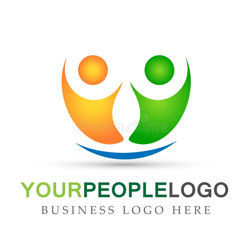 People logo team work partnership education celebration group work people symbol icon vector designs on white background. Ai10 illustrations for company or any stock illustration