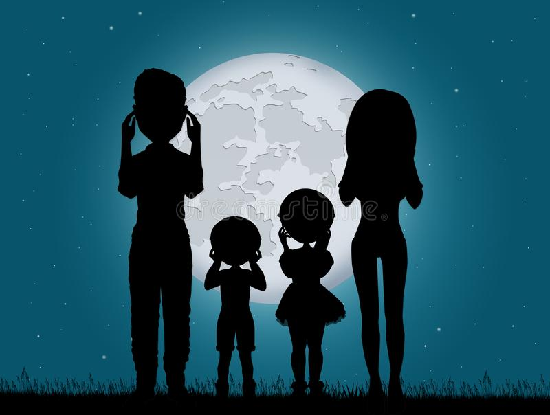 People look the eclipse. Illustration of people look the eclipse royalty free illustration