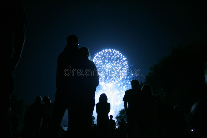 People look at firework stock photo