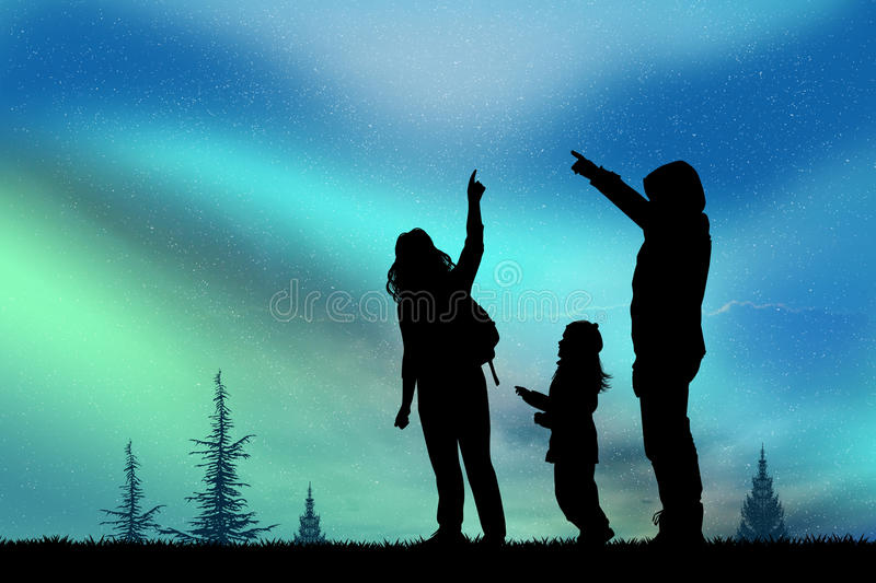People look at the northern lights vector illustration
