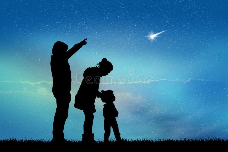 People look the shooting stars stock illustration