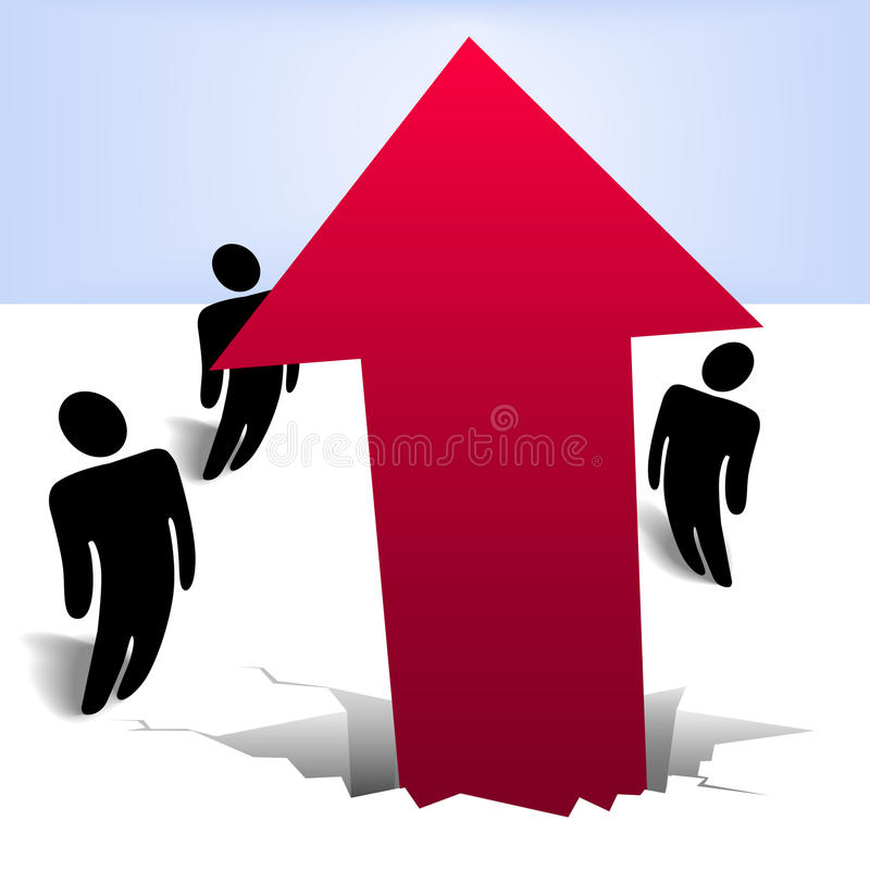 Download People Look Up At New Breakthrough Red Arrow Stock Vector - Image: 13644882