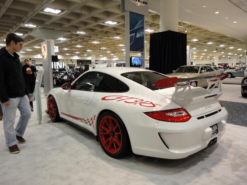 People looke at Porsche GT3RS on Display royalty free stock images