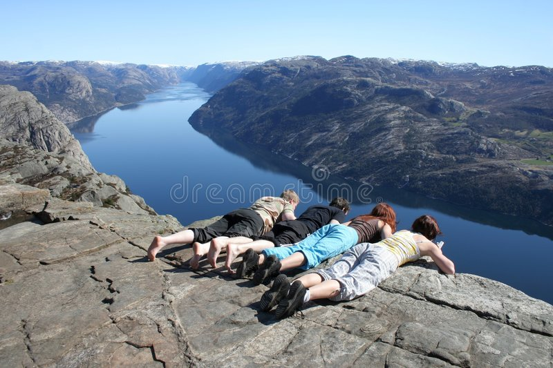 People looking down at pulpit stock photos