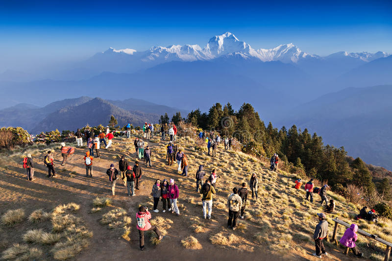 People looking for sunrise at Himalayas royalty free stock images