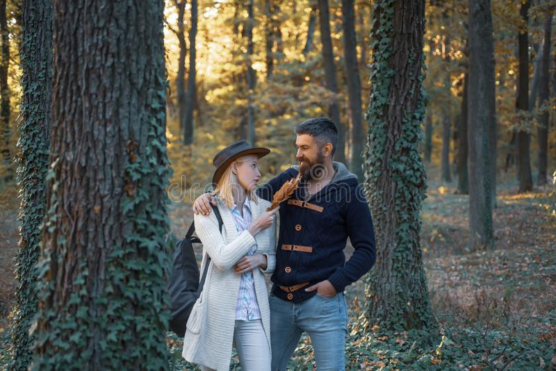 People in love on Autumn background. Outdoor Autumn atmospheric moments and dream. Autumn love story - portrait couple royalty free stock photography