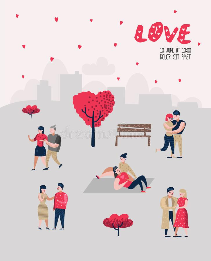 People in Love Characters for Poster, Banner. Valentines Day Doodle with Hearts and Romantic Elements. Love and Romance. Concept. Vector illustration vector illustration