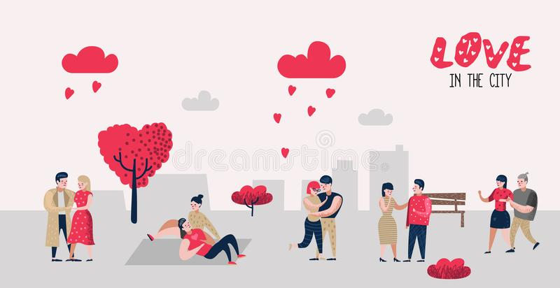 People in Love Characters for Poster, Banner. Valentines Day Doodle with Hearts and Romantic Elements. Love and Romance. Concept. Vector illustration stock illustration