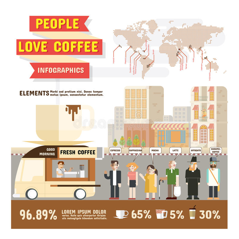 People love coffee infographics, Design character cartoon and elements of coffee lover vector illustration. stock illustration