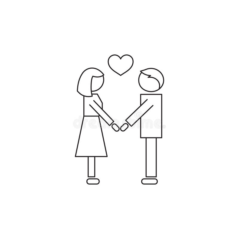People in love line icon. Vector thin line icon, two people in love. Metaphor of amorousness, affection and faithfulness. Man and woman are holding hands. Black vector illustration