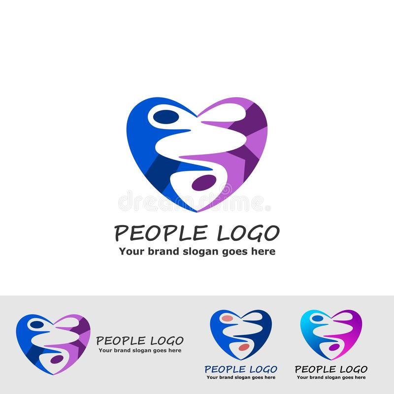 People in love logo. Love sign with couple people for dance community logo royalty free illustration