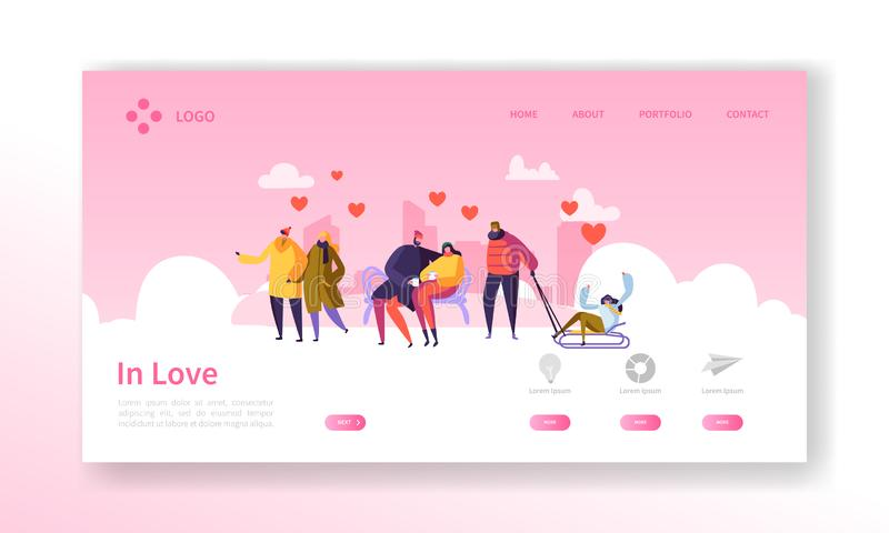 People in Love on Winter Season Landing Page. Valentines Day Banner with Flat Characters and Hearts. Website Template. Easy Edit and Customize. Vector stock illustration