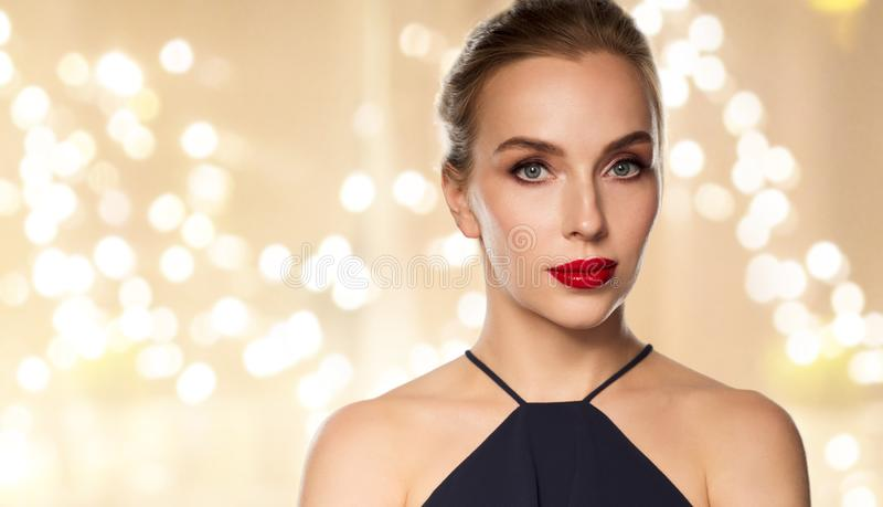 Close up of beautiful woman with red lipstick royalty free stock photo