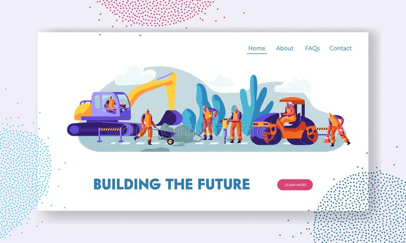 People and Machinery at Road Repairing Work Concept. Excavator and Steamroller Heavy Vehicles Making Asphalt Maintenance in City royalty free illustration