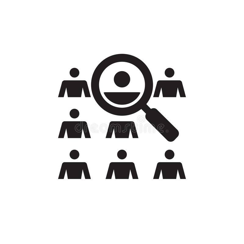 People and magnifier lens - vector icon design. Human search find sign. royalty free illustration