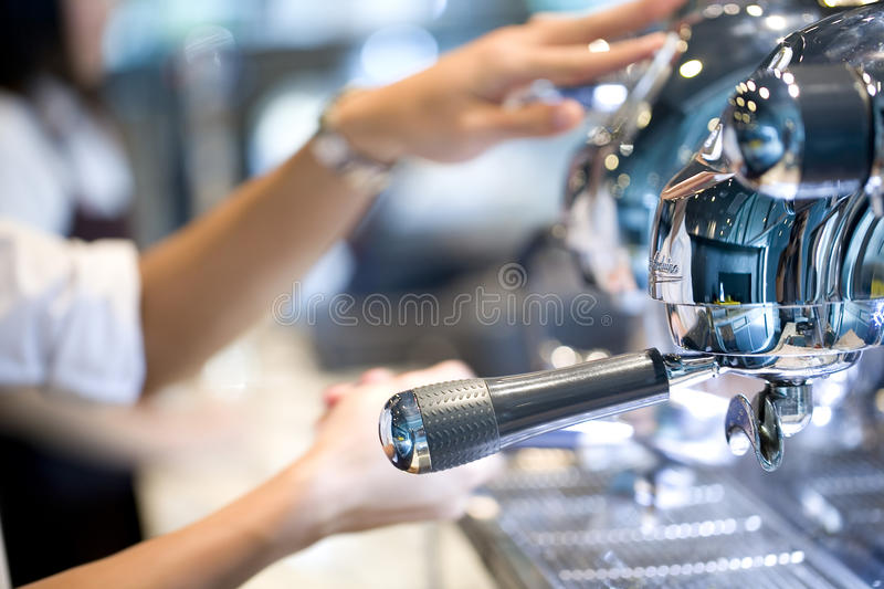 People making coffee royalty free stock photos