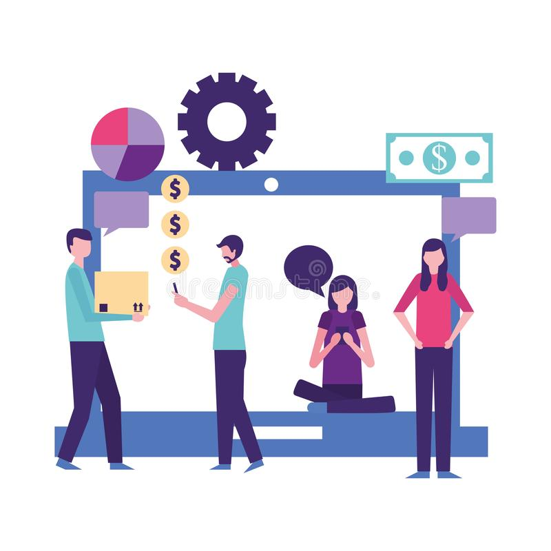 People making differents activities with devices. Vector illustration vector illustration