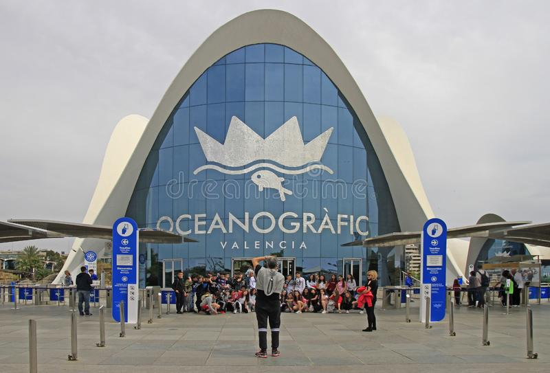 People are making photo at entrance of Oceanographic in Valencia stock images