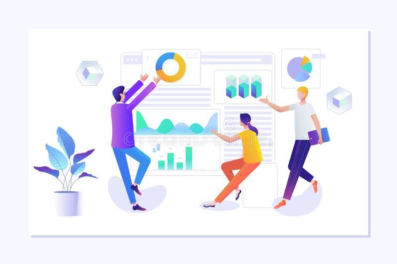People making web page design for website. Creative landing page design template vector illustration