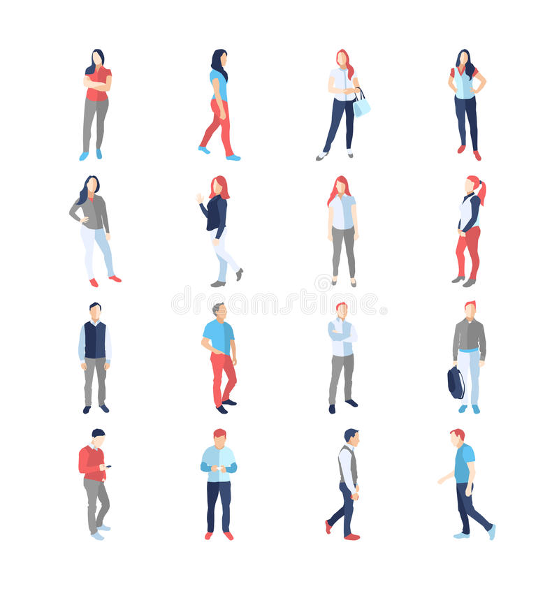 People, male, female, in different casual common poses royalty free illustration