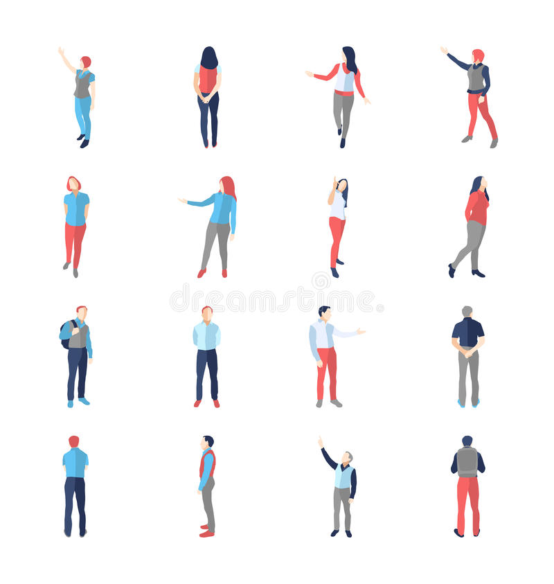 People, male, female, in different showing and browsing poses stock illustration