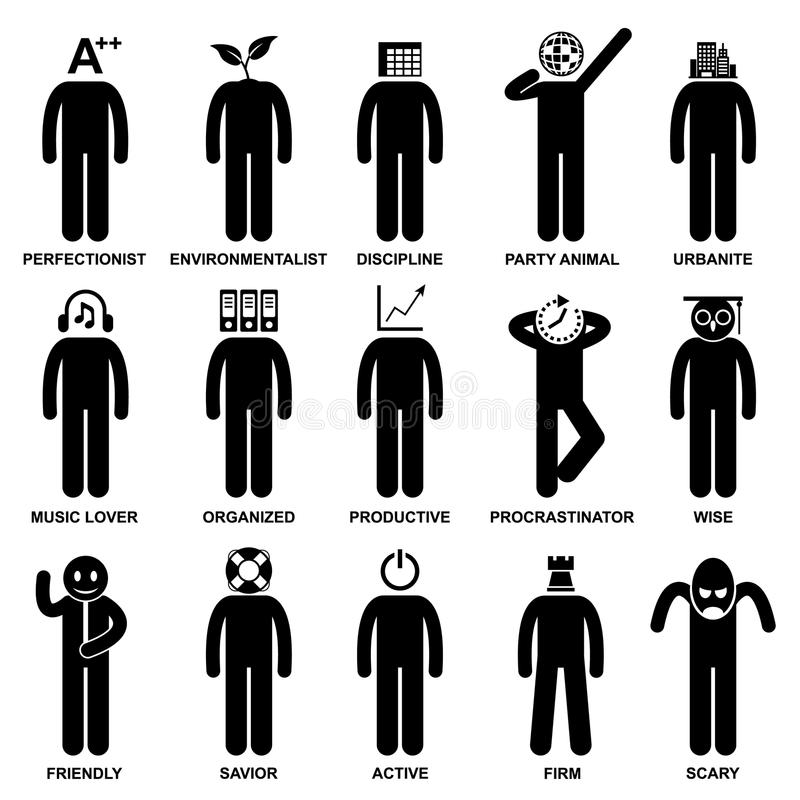 Download People Man Characteristic Attitude Pictogram Stock Photo - Image of people, mind: 27880390
