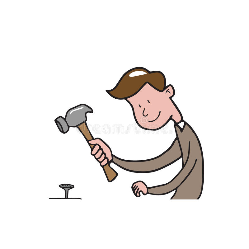 People man hammer cartoon royalty free illustration