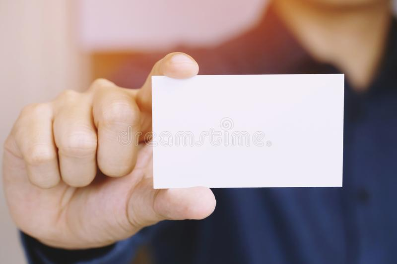 People man hand hold business cards show blank white card mock up royalty free stock photos