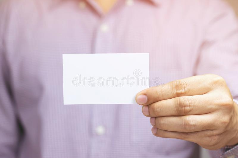 People man hand hold business cards show blank white card mock up. royalty free stock photos