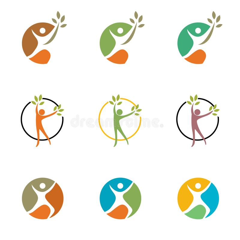 People, man, running, wellness, celebration, logo, health, ecology healthy symbol icon set design vector royalty free illustration