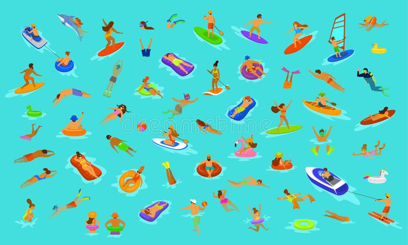 People man and woman, girls and boys swimming in floats mattress, diving into sea, water, pool or ocean. Summer beach vacations sc royalty free illustration