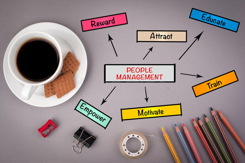 People Management, business concept for presentations. On gray o stock photography