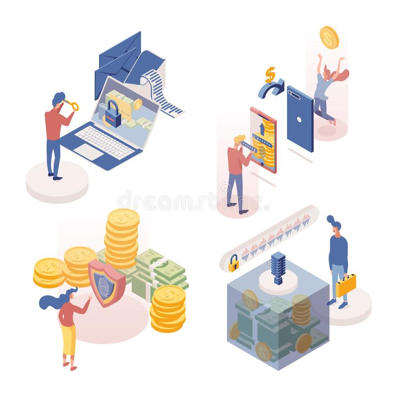 People managing deposits isometric characters set. Money transactions 3d vector illustrations collection. Secure. People managing deposits isometric characters royalty free illustration