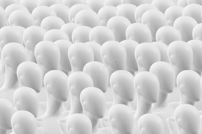 People are mannequins. Mannequins without eyes. The concept of human society stock images