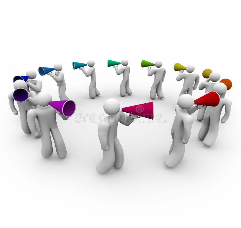 People Marching with Bullhorns stock illustration