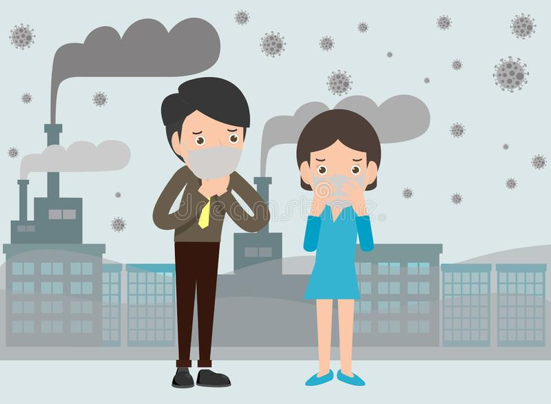 People in masks because of fine dust, man and woman wearing mask against smog. Fine dust, air pollution vector illustration