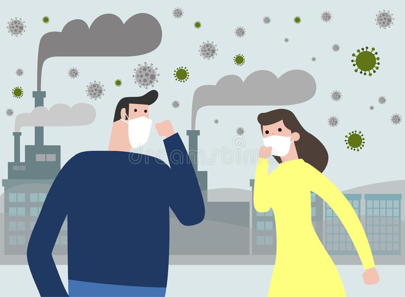 People in masks because of fine dust PM 2.5 , man and woman wearing mask against smog. Fine dust, air pollution royalty free illustration