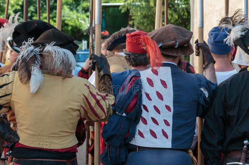 People with Medieval Garments during Medieval Event Fair.  royalty free stock image