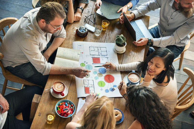 People Meeting Brainstorming Blueprint Design Concept stock image