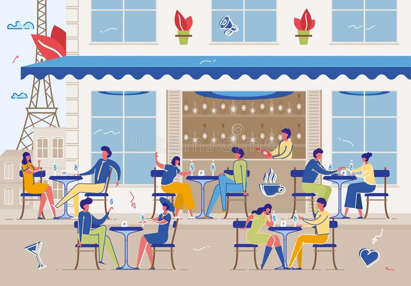 People Meeting and Eating Out in Public Place stock illustration