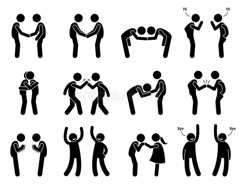 People Meeting and Greeting Gestures Etiquette. Artwork depicts people handshake, holding hand, bowing, fist bump, hugging, kissing hand, namaste, and saying royalty free illustration