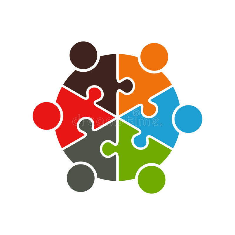 People Meeting in Puzzle Sliced Pie Graphic. Concept for People Involved in Projects vector illustration