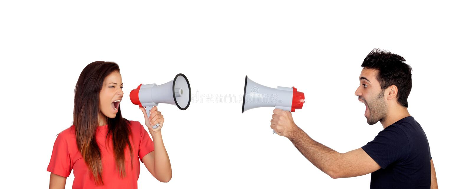 People with megaphones royalty free stock image