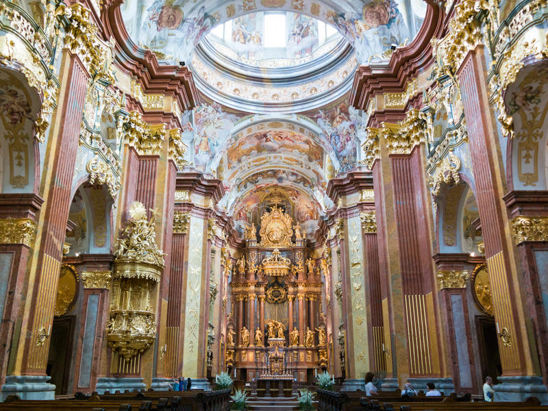 People in Melk Abbey Church, Austria. People in Church of Melk Abbey in Wachau Valley, Lower Austria stock photo