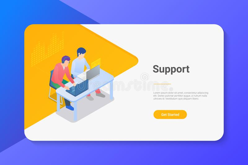 People Men sitting at Table with Laptop Notebook Isometric flat illustration. Online support concept.  stock illustration