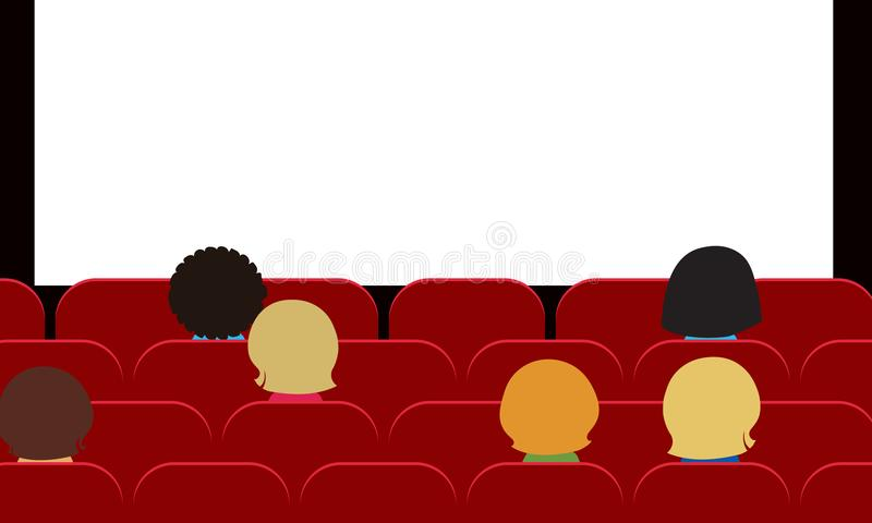 People - men, women and children sitting in movie theater on red stock illustration