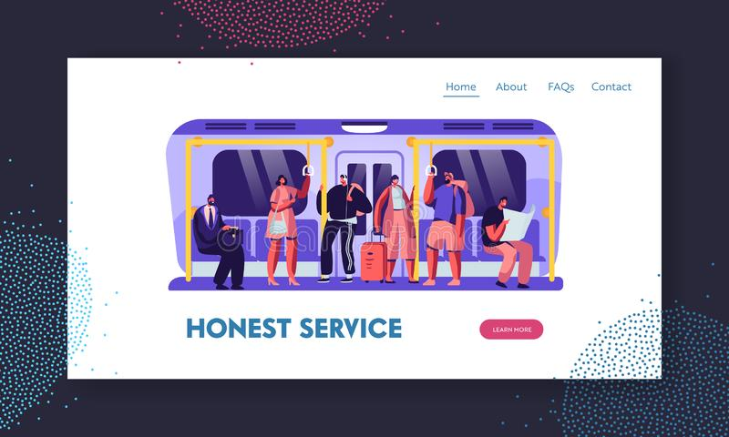 People in Metro Website Landing Page, Passengers in Underground Using Urban Public Transport. Tourists and Native Citizens. Going by Subway Train Web Page vector illustration