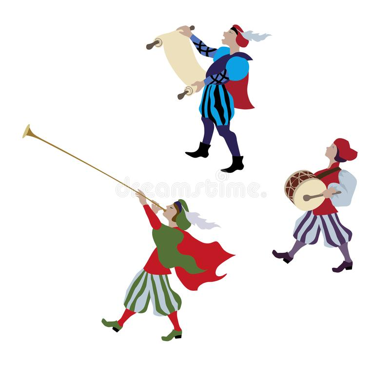 People in middle ages in flat design. Medieval cartoon characters and european middle ages or medieval period. Vector illustration of renaissance fair or royalty free illustration